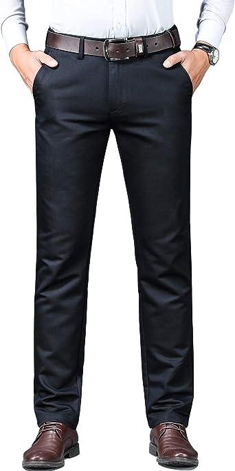 Meerway Pantalón de Traje para Hombre Regular fit de Algodón ...