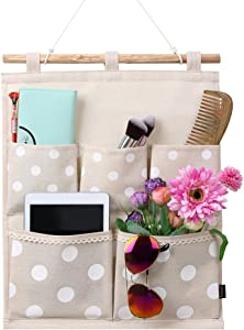 Homecube Linen Cotton Fabric Wall Door Cloth Hanging Storage Bag Case 5 Pocket Home Organizer (White Polka Dots)