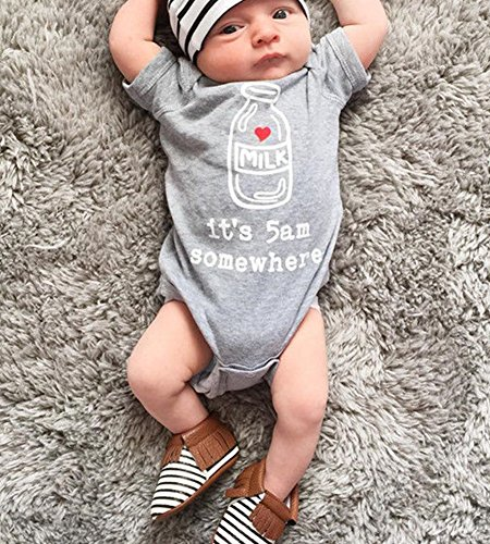 "Ma&Baby Newborn Infant Kids Baby Boy Girl ""It's 5 AM Somewhere"" Romper Clothes Outfits (0-3 Months)"