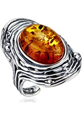 Honey Amber Sterling Silver Oxidized Oval Adjustable Ring, Size 7