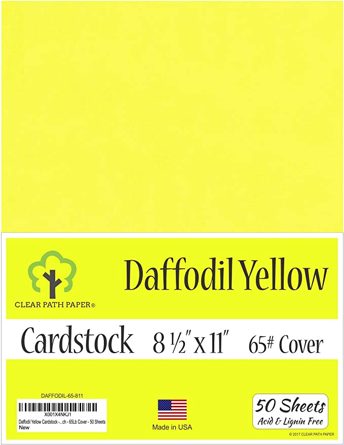 65Lb Cover 8.5 x 11 inch Daffodil Yellow Cardstock 50 Sheets