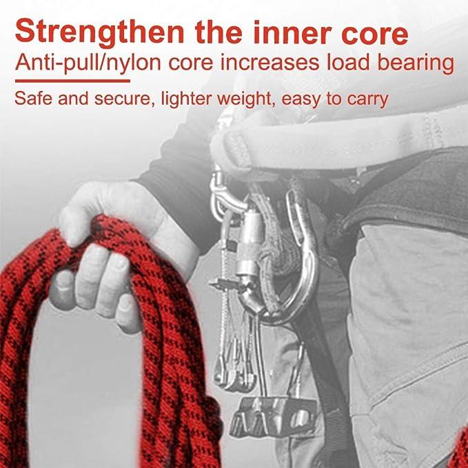Generies - Cuerda de nailon multifunción para escalada, 12 mm, con 2 mosquetones para escalada, camping, senderismo