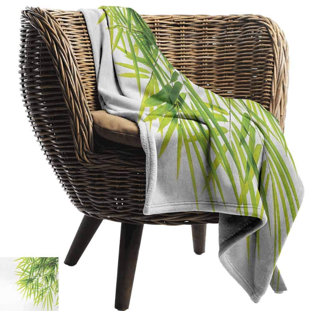 Bamboo Printing Throw Blanket,Bamboo Leaf Illustration Icon for Wellbeing Health Fresh Purity Tranquil Art Print Plush Hypoallergenic Blanket for Living Room (62''x60'')-Green White