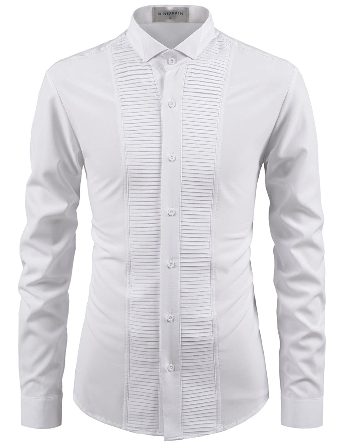 NEARKIN Adorable Mens Wrinkle Free Stretchy Fitted Dress Shirts