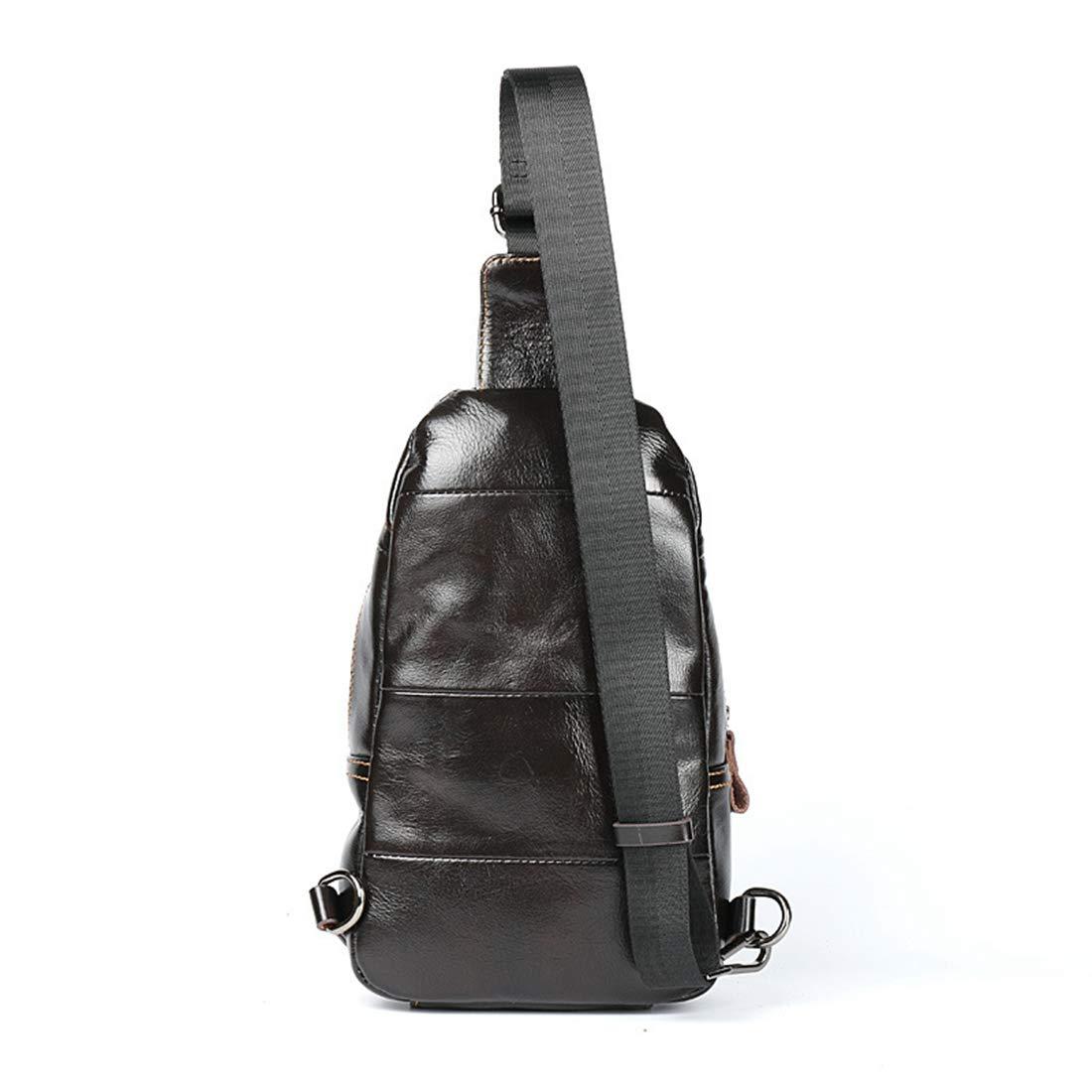 RABILTY Men Chest Bag Genuine Leather Business Leisure One Shoulder Crossbody Bag Satchel Work Out Travel Bag Color : Red-Brown