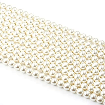 120916ec2837e Generic 10 mm 170 pcs Glass Pearl Beads(2 Strands) Ivory White Color for  DIY Jewelry Making Crafts Projects (10mm)