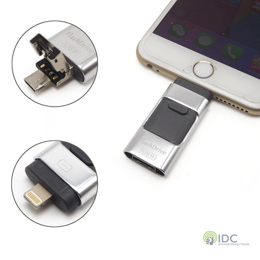 IDC® 32 GB 3 in 1 Extra Storage Flash memoria espansione per Iphone 5 / 5C / 6 / 6S / 6 Plus / 6S Plus / SE / Ipad / Ipod / Android / Windows ecc Lightning e connessioni USB micro IDC Auio Visual