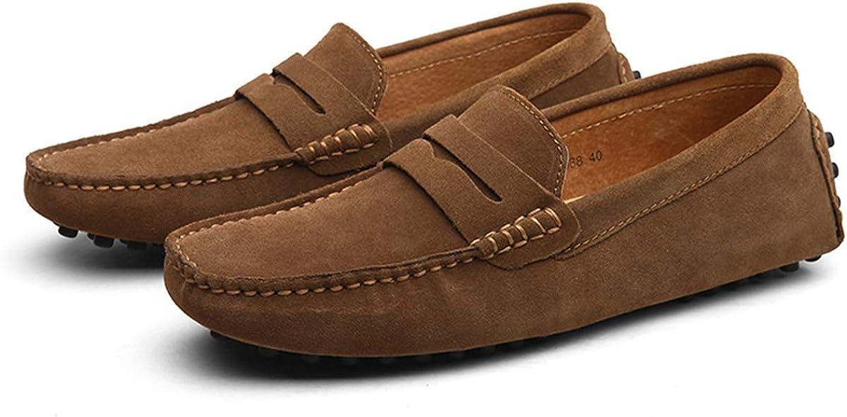 AARDIMI Herren Mokassins Bootsschuhe Wildleder Loafers Schuhe Flache Fahren Halbschuhe Beiläufig Slippers Hausschuh Khaki 2Yrzw
