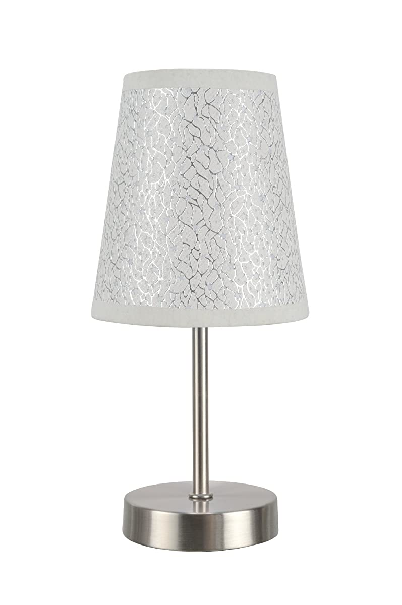 "Aspen Creative 40085-8, 1-Pack Set-1 Light Candlestick Table Lamp, Contemporary Design in Satin Nickel, 10"" High, Stars"