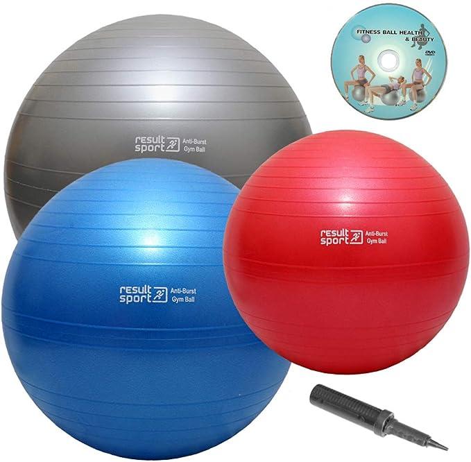 ResultSport - Pelota para ejercicios (65 cm, incluye DVD en inglés y bomba de aire), color azul: Amazon.es: Deportes y aire libre