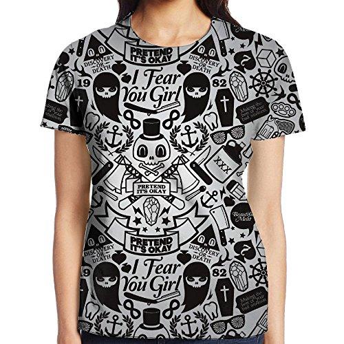 Women's Short Sleeve T Shirt Full Cartoon Halloween Decorations Skeletons Ghosts Printed Tops Casual Tee Shirt -