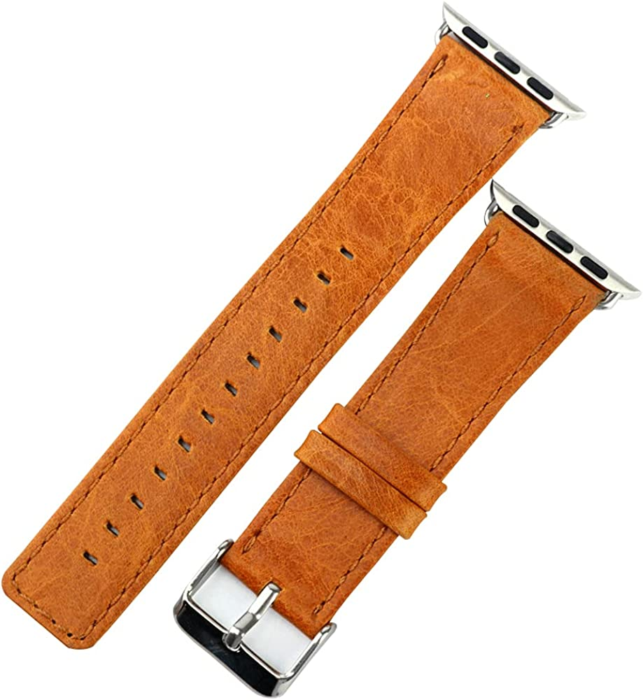 Leather Bands Compatible with Apple Watch 38mm 40mm 42mm 44mm,Genuine Leather Retro Strap Replacement Strap Compatible with Apple Watch Series 6 5 4 3 2 1 for Men Women