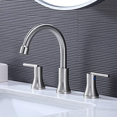 VESLA HOME Modern 3 Hole Widespread Brushed Nickel Bathroom Faucet,Stainless Steel Lavatory Bathroom Vanity Sink Faucet Includes Supply Lines