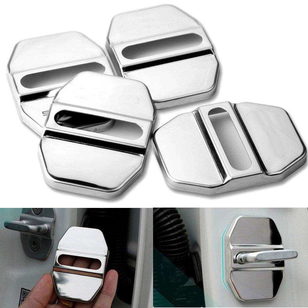 PolarLander 4pcs cerraduras de Puerta de Acero Inoxidable de Coches Cubierta Protectora de autom/óviles de protecci/ón Interior de Accesorios Puertas de Bloqueo de Tapas