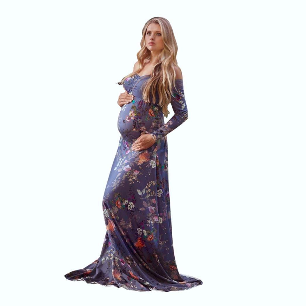 Snowfoller Women Pregnants Off Shoulder Bohemian Dress, Sexy Slash Neck Flower Printed Nursing Long Beach Dress (L, Purple)