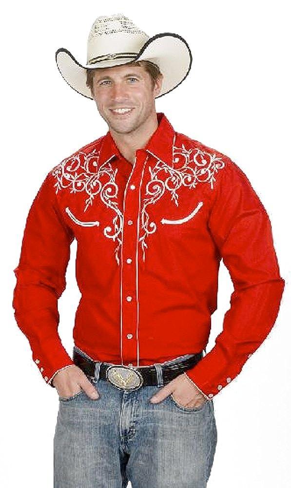 Men's Cotton Blend Retro Leaf Embroidery Western Shirt Western Express WEX-730