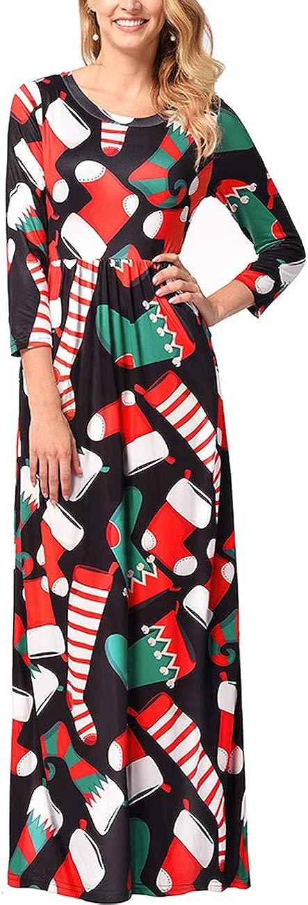 TALLA XXL=ES 48-50. FeelinGirl Mujeres Vestido Largo Estampado Floral de Fiesta Navidad Falda Maxi de Manga Larga Nochebuena Multicolor-03 XXL=ES 48-50