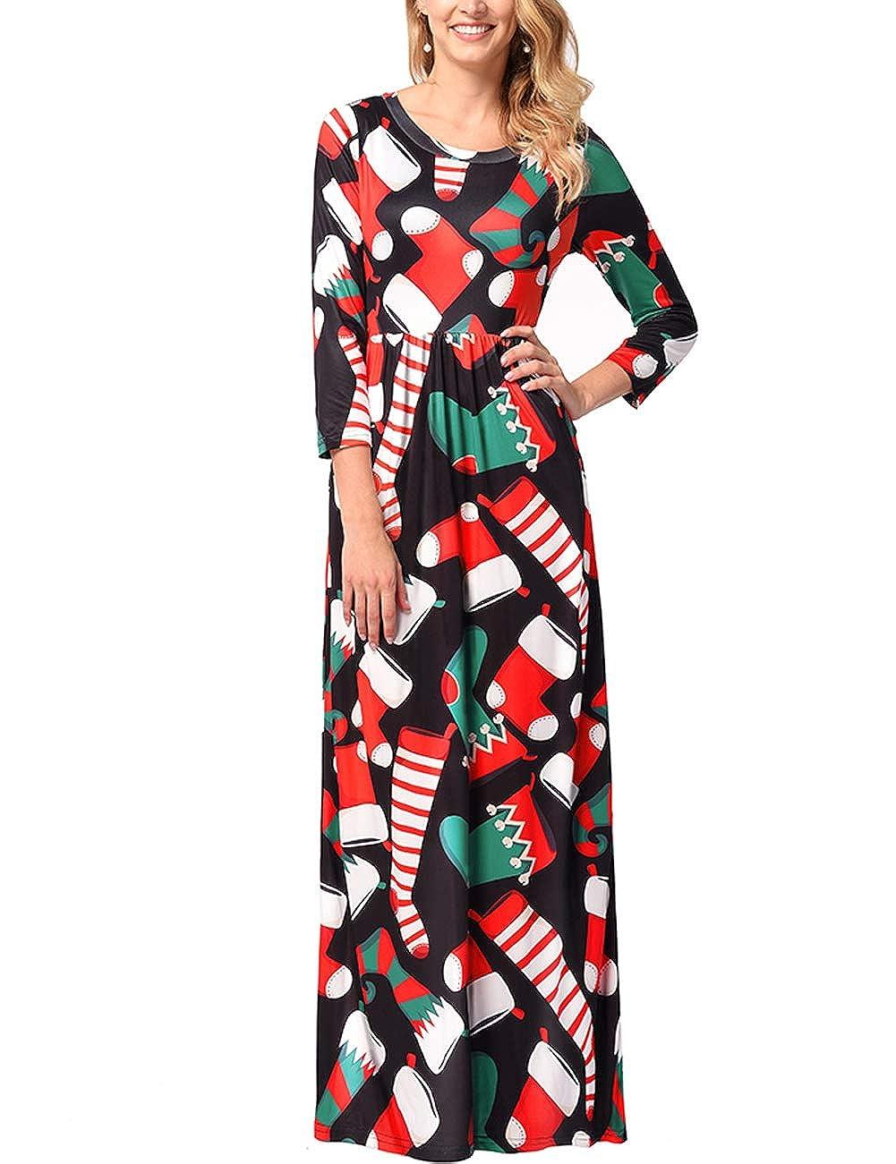 TALLA XL=ES 46-48. FeelinGirl Mujeres Vestido Largo Estampado Floral de Fiesta Navidad Falda Maxi de Manga Larga Nochebuena Multicolor-03 XL=ES 46-48