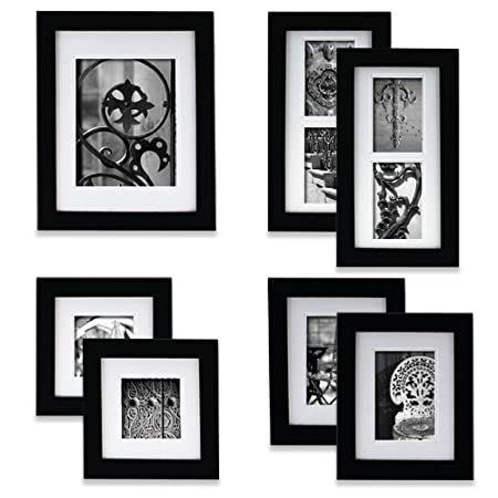 Pinnacle Frames and Accents 7-Piece Photo Frame Set, Black: Amazon ...