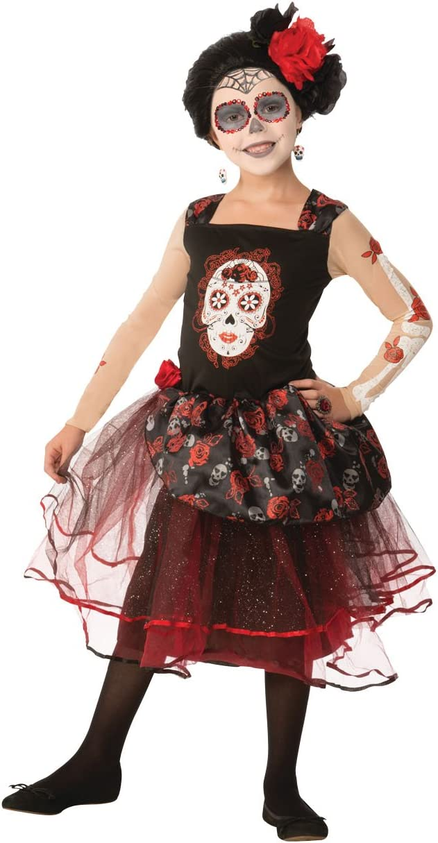 Girls Childs Mexican Day of the Dead Zombie Bride Halloween Fancy Dress Costume