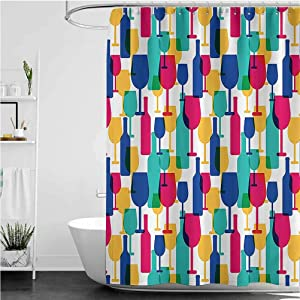 Winery Print Shower Curtain, Cocktail Glass and Wine Bottle Pattern Bar Menu Party Alcohol Drinks Festive Image Hotel Quality Bathroom Shower Curtains, 55