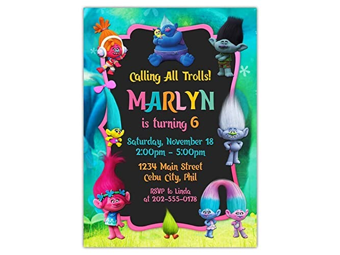 Image Unavailable Not Available For Color Trolls Birthday Party Invitations