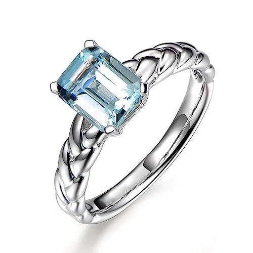 Blisfille Joyas Anillo Bisuteria Grandes Mujer Anillo de Square Knot Anillo Oro Blanco Diamante Mujer Anillo de Plata de Ley 925,Plata del Tamaño 25: ...