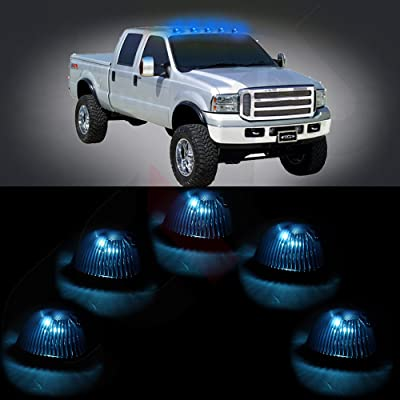 cciyu 5 PackCab Roof Top Marker Smoke 264141BK Running Lamps w/White LED Light Bulbs Replacement fit for Replacement fit for Truck Pickup 4x4 SUV (smoke lens ice blue): Automotive