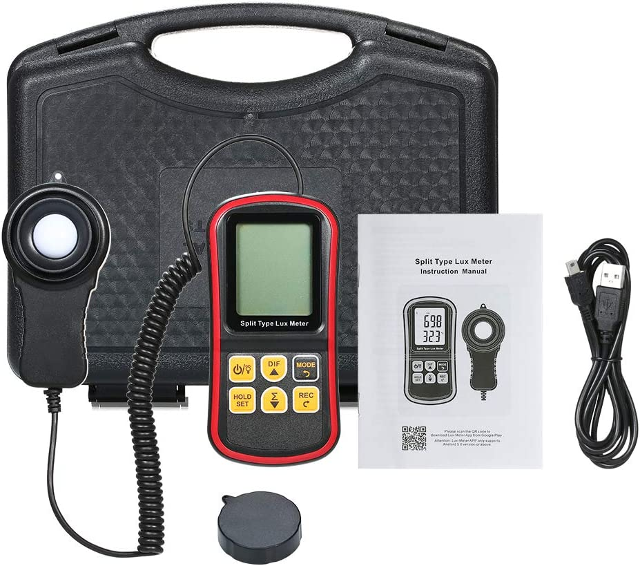Festnight Digital Lux Meter BT Photometer Luxmeter Split Type LCD Handheld Illuminometer Luminometer Light Meter 0-200000 Lux with Mobile APP Connection and Max//Min//Difference Value Data Hold Mode