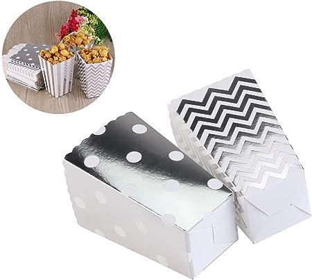VADOO - 50 Cajas de Palomitas, Palomitas, Caja de cartón, Caja de Caramelos, Caja para Aperitivos, Dulces, Cacahuetes, Palomitas Plateadas: Amazon.es: Hogar