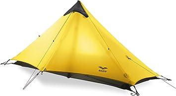 MIER Tienda de campaña Ultraligera para 3 Estaciones, fácil de Instalar, para 1 o 2 Personas, Camping, Escalada, Senderismo (excluyendo bastón de ...