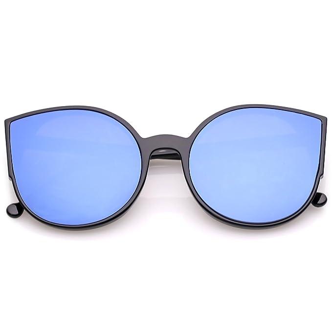 9b2b314c92 sunglassLA - Women s Cat Eye Sunglasses With Slim Arms Round Colored Mirror  Flat Lens 56mm (
