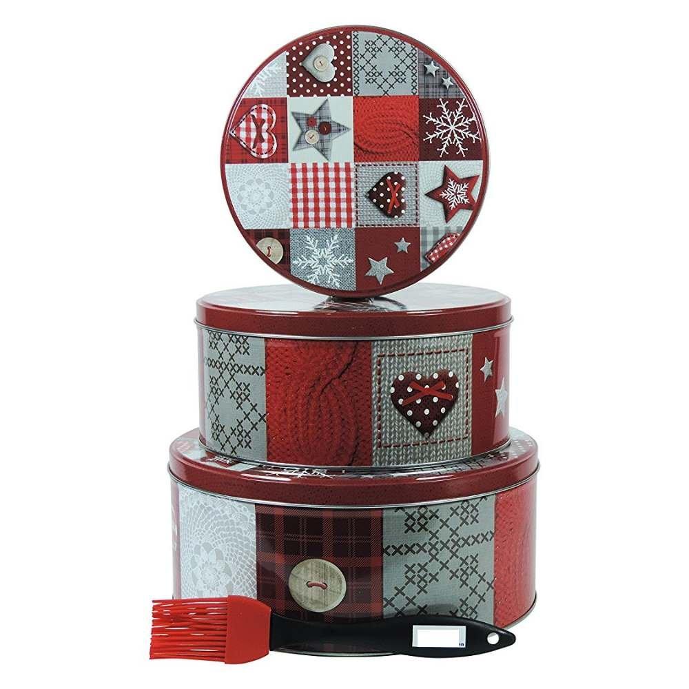 Viva-Haushaltswaren - 3 redondas Juego cajas para galletas (/Navidad latas/regalo latas/metal latas Diámetro de 20, 17, 13,5 cm: Amazon.es: Hogar