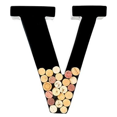 Wine Cork Holder - Metal Monogram Letter (V)