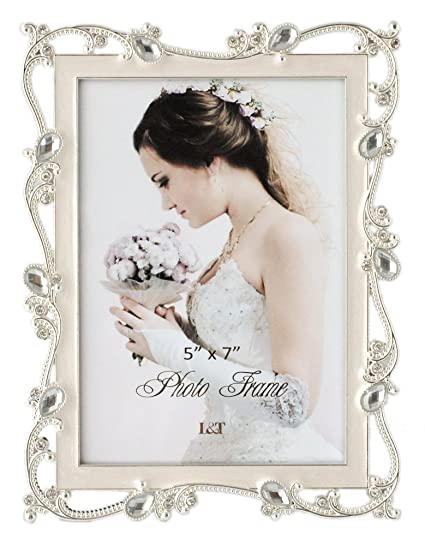 Amazon.com - L&T Metal Picture Frame Silver Plated with Cream White ...