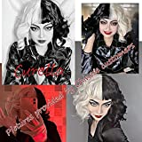 Zuoou Cruella deVil Cosplay Costume Wig Black and