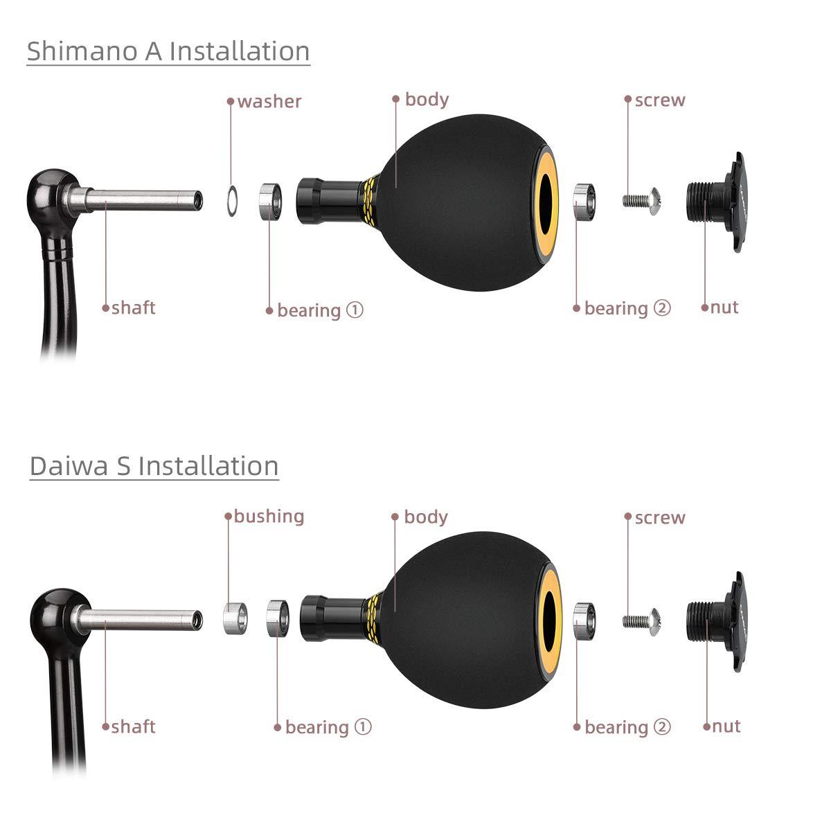 Gomexus Pomo Carrete EVA para Shimano Stradic CI4 Ultegra, Daiwa Certate Luvias Perilla Carretes de Pesca Spinning Directo, Daiwa BG Ninja Perforación ...