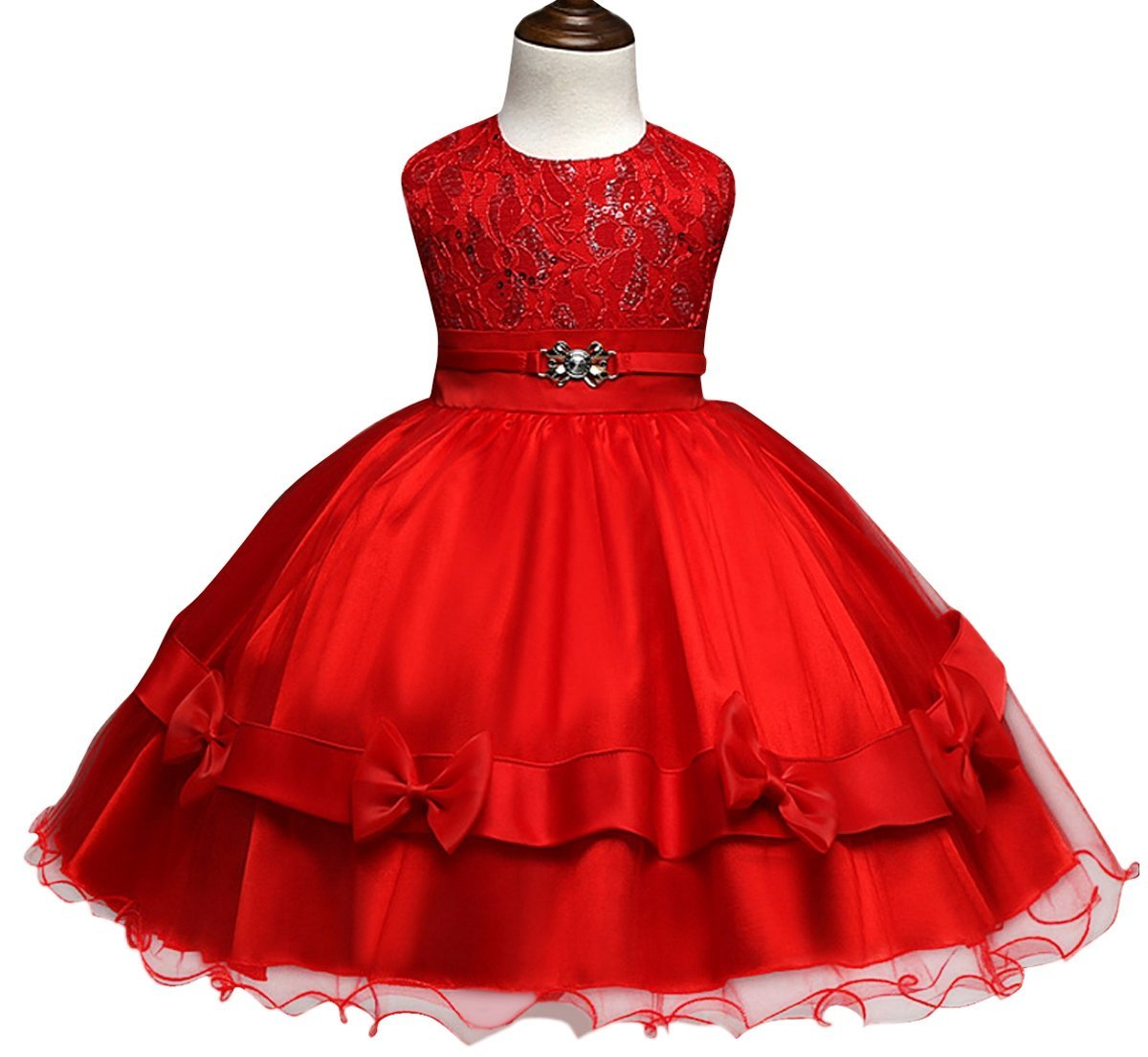 Flower Girls Princess Lace Bow Tutu Skirts Wedding Party Pageant Tulle Dresses Aivtalk