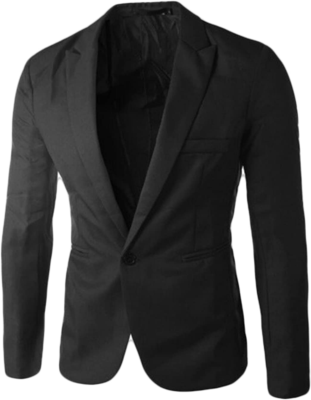 Acquaa Mens Casual Formal One Button Suit Jackets Blazer Black M