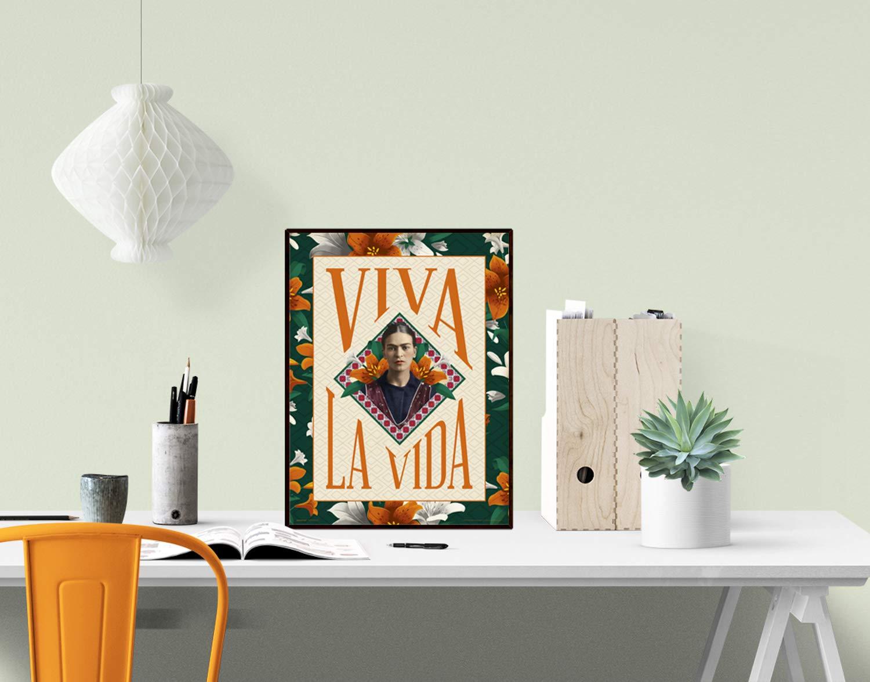 30x40 Grupo Erik Editores Art Print 30X40 CM Frida Kahlo Viva LA Vida Multicolore