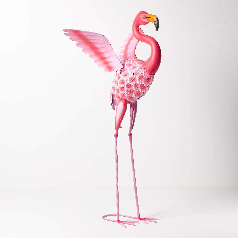 Figura decorativa de flamenco Homescapes para jardín, de metal, pintada a mano, de hierro, para jardín, estanque y balcón, decoración de estanque, figura de animales, color rosa, aprox. Altura: 87 cm.