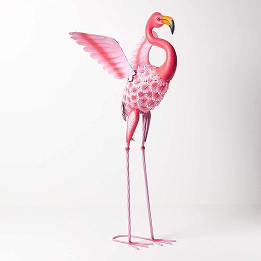 Figura decorativa de flamenco Homescapes para jardín, de metal, pintada a mano, de hierro, para jardín, estanque y balcón, decoración de estanque, figura de animales, color rosa, aprox. Altura: 87 cm.: Amazon.es:
