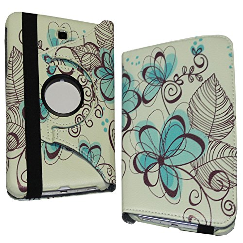 Samsung Galaxy Tab 3 7.0 Case, JYtrend (R) 360 Rotating Stand Cover for Galaxy Tab 3 7-inch SM-T210 T210R SM-T211 SM-T215 SM-T217 T217A T217S T217T SM-T2105 GT-P3220 GT-P3210 GT-P3200 (Blue Lotus)