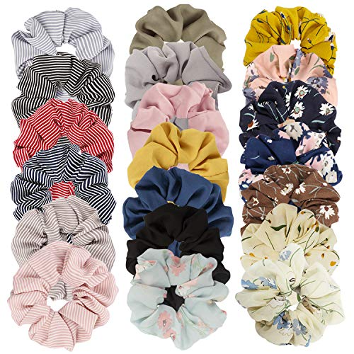 Cubaco 20 Pack Chiffon Flower Scrunchies Hair Scrunchies for Womens Girls Ponytail Holder Bobbles Elastic Colorful Scrunchy Hair Bands Ties, 14 Colors Chiffon Flower and 6 Solid Colors Hair Scrunchie
