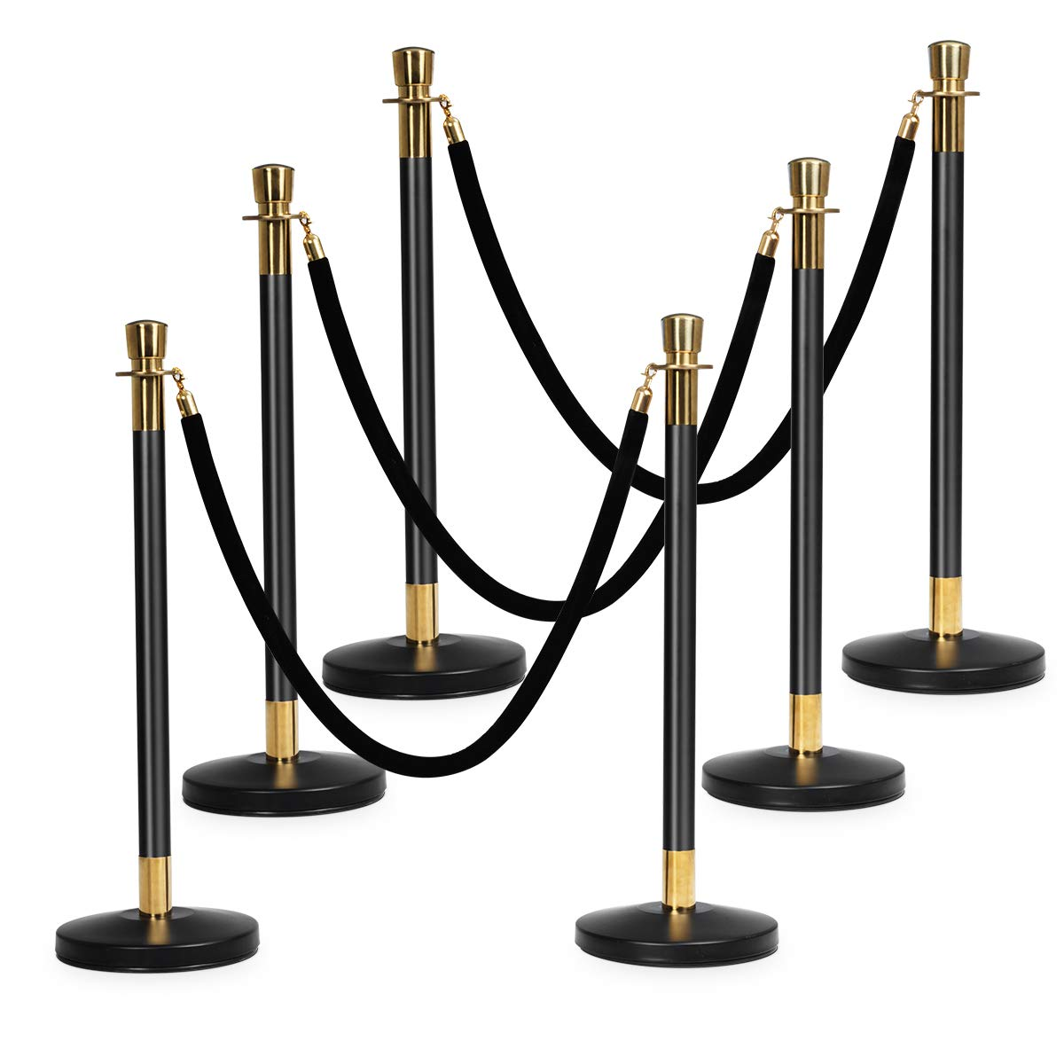 Goplus 6pcs Stanchion Set, Crowd Control Barrier Stainless Steel Stanchion Posts Queue Pole with 5Ft Velvet Rope, Suitable for Theaters, Party, Wedding Exhibition Centers, Ticket Offices (Black) by Goplus