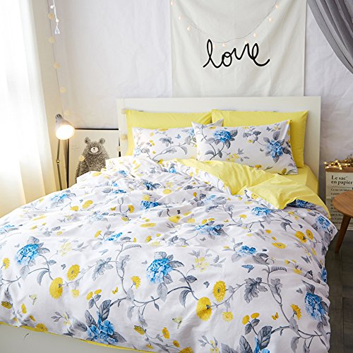 Mumgo Home Textile Duvet Cover Set 100% Cotton for Girls Blue Yellow Flower Floral Bedding Set-Not Include Comforter (King Size-4 Piece, Fitted Sheet) by Mumgo