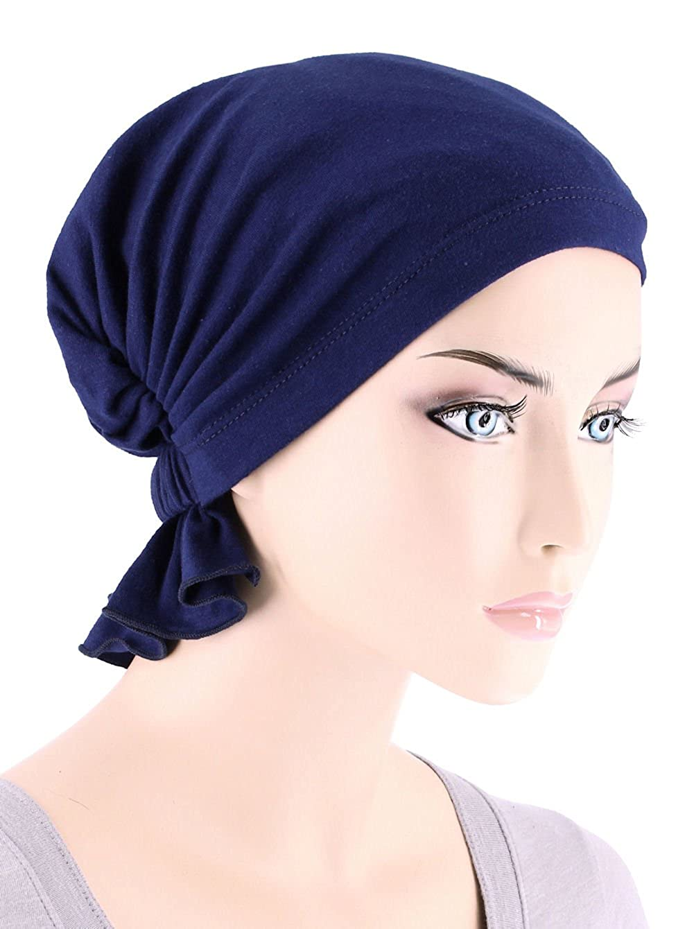 Abbey Cap Womens Chemo Hat Beanie Scarf Turban Headwear for Cancer Cotton  Dark Denim at Amazon Women s Clothing store  fb4a6767dc11