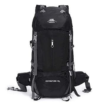 Mooedcoe 55L Waterproof Hiking Travel Backpack Outdoor Camping Climbing  Mountaineering Rucksack (Black) 512fd6a328