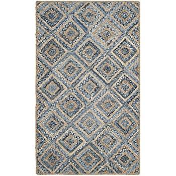 Attractive Safavieh Cape Cod Collection CAP354A Hand Woven Flatweave Diamond Geometric  Natural And Blue Jute Area Rug (2u0027 X 3u0027)