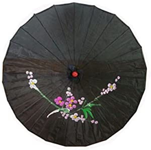 JapanBargain 4000, Japanese Parasol Chinese Asian Nylon Umbrella Parasol for Photography Cosplay Costumes Wedding Party Home Decoration Kids Size, 22 inch, Black